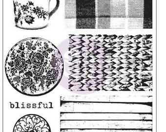 Prima Marketing, Finnabair, Cling Mounted Stamps, Tea on the Deck, Plaid, Floral, Flourishes, Scrapbooking, Card-Making,Background, Cup,