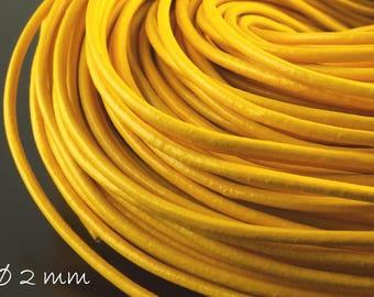 5 m leather Strap yellow, Ø 2 mm