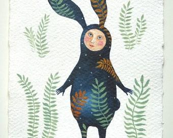 "original watercolor picture ""Night Rabbit"""