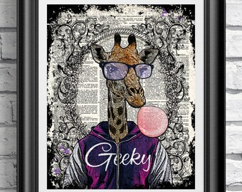 Dictionary book page print hipster animal Geeky Giraffe. Art print on antique book page, wall decor fashion animal, funky giraffe poster.