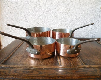 Set of 4 French Professional Quality Vintage Graduating Hammered Copper Saucepans 2mm thick  Weights Combined 12.6lbs / 5.76kgs