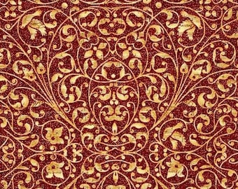 """Holiday Fabric, Christmas Fabric: Peace on Earth Scroll RED - Floral, Vines, Dove 100% cotton Fabric by the yard 36""""x44"""" (J101)"""