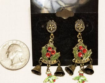 CH-112, Christmas Earrings with Dangles of Bells and Holly Accented with Red Rhinestones