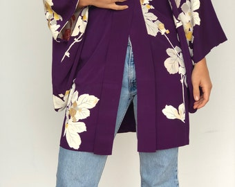 Soft vintage silk kimono robe haori in purple floral
