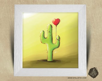 Frame square 25 x 25 birth gift with Cactus Illustration and balloons nursery kids baby