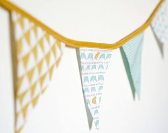 Light blue, white and mustard Bunting