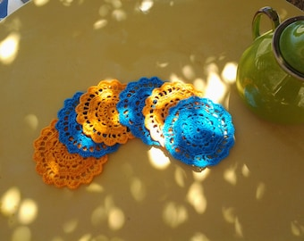 Coaster crochet orange and blue
