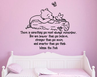 Wall Decals Quotes Winnie the Pooh You Are Braver Than You Believe Stronger Than You Seem And Smarter Than You Think Pooh Decal Nursery Q016