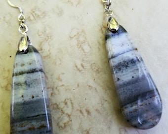 Grey Striped Agate Dangle Earrings