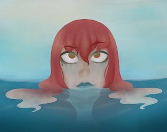 Curious Mermaid Print