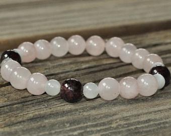 Fertility Mala, Rose Quartz, Moonstone, Garnet, Mala Bracelet, Meditation Bracelet, Gemstone Therapy, Crystal Healing, Yoga Bracelet, Prayer