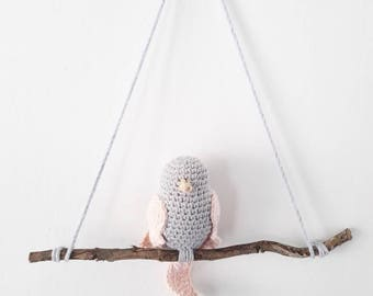 Wall decor - kids room / baby - grey and pink crochet bird perched on a branch