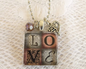 Love Glass Tile Pendant Necklace with Charms on Silverplated Ball Chain Valentines Gift Birthday Gift Love Gift Party Favor