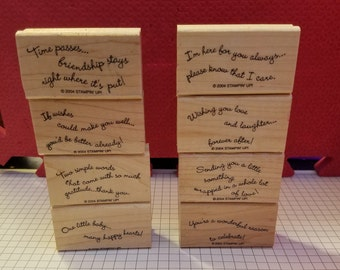 Stampin' Up! Curvy Verses - Retired! Wood Mounted Stamp Set!  Used and in Good Condition! Card Creation, Scrapbook, Tags, Kids, Adults!