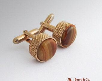 SaLe! sALe! Vintage Swank Cufflinks Gold Tone Metal Glass Agate 1940s