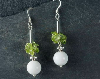 Peridot & White Mountain Jade - Silver Ear Wires