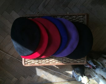 Vintage Berets 100% Wool Multiple Colors