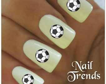 Soccer Nail Decals 20  Vinyl Adhesive Decals Nail Tattoos  Nail Art