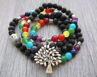 108 mala beads 108 mala necklace Mala bead necklace Chakra bracelet Chakra necklace Chakra stones Chakra  necklace Mala meditation