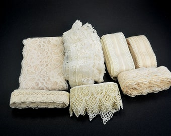 Lace Grab Bag-Lace Remnants-Natural Color Lace-Lace Yardage-Bridal Lace-Lot of Seven Assorted Laces-Approx 25 yds-RTS