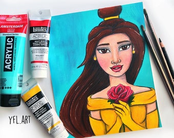 Beauty and the Beast Print- Belle Print- Disney princess - Disney kids room art print - Tween room art - Tween girl gift