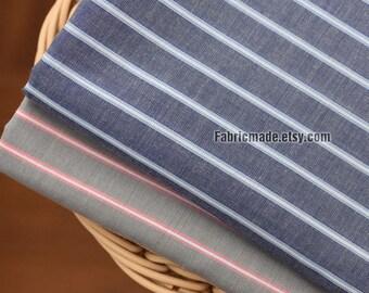 100% Cotton Stripes Fabric, Light Weight Grey Gray Blue Yarn Dye Stripes Cotton- 1/2 Yard