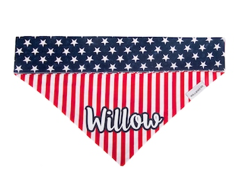 4th of July Personalized Over the Collar Dog Bandana, Patriotic Dog Bandana with Name, American Flag, Stars and Stripes, Slip On, Slide On
