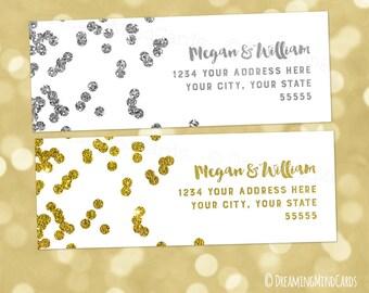 Custom Wedding Printable Return Address Gold or Silver Glitter Confetti Pattern Custom Digital Labels