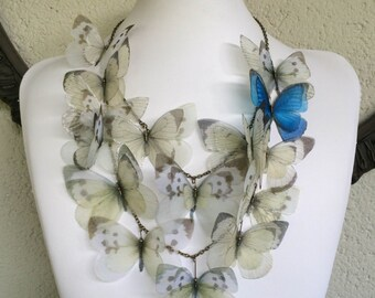 Wedding Butterfly - Handmade Silk Organza Ivory Butterflies with Morpho Blue Statement Necklace - Made to Order