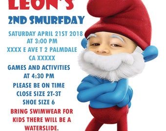 Popa Smurf Birthday Invitation