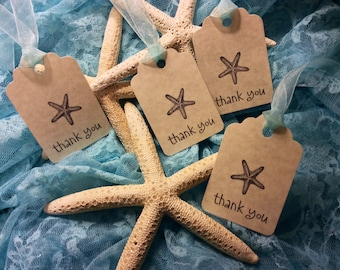 Thank you star fish tags / wedding favour / Thank you gift Qty 24 tags