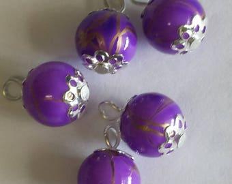 5 pendants 10mm purple/gold glass beads