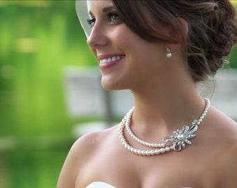 Bridal Earrings, pearl rhinestone earrings, Rhinestone Wedding Earrings, bridal stud Earrings, swarovski crystal earrings, pearl, ELLE
