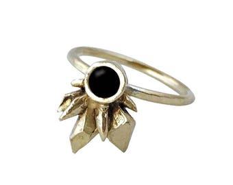Black Onyx Thea Ring // Black Onyx Crystal Cluster Ring