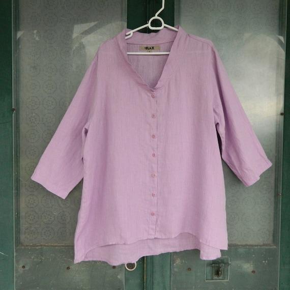 FLAX Designs 3/4 Sleeve Blouse -L- Lilac Purple Light Weight Linen