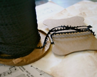 3Y Vintage Skinny Picot Trim, Woven Black