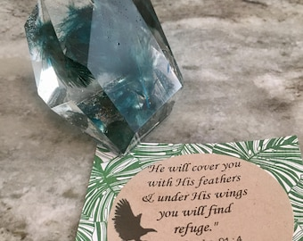 Feather resin scripture paperweight, stone shape paperweight, scripture decor, faith gift