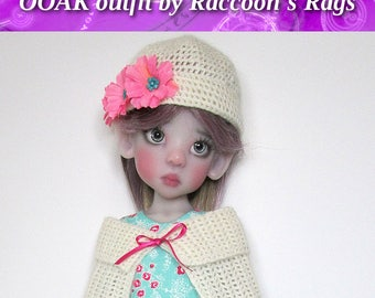 """OOAK  handmade set for Kaye Wiggs dolls.  """"Creamy Aqua"""" outfit.  Fits  MSD (45cm/18"""") body only.  5 pieces, includes bear."""