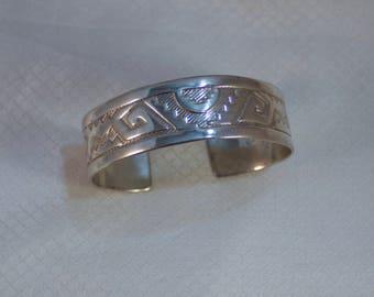 "Southwestern, Navajo Inspired Silver Plated Bangle 7"" Bracelet"
