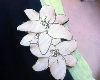 Laser Cut Flower Brooches
