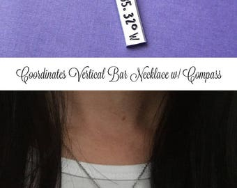 Coordinates Necklace, Hand Stamped Jewelry, Graduation Gift, GPS Coordinates, Personalized Jewelry, Compass Necklace, Vertical Bar Necklace