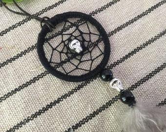 pretty necklace dream catcher skull 4 cm in diameter