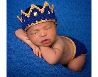 Newborn Baby Boy Clothes, Newborn Crochet Crown and Diaper cover set - Infant newborn Take home outfit  baby gift - prince crown - baby gift