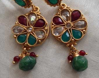 Kundan Indian Earrings | Bollywood | Indian Wedding Jewelry | Kundan Jewelry | Hyderabadi Jewelry | Desi | Chandelier Earring | Dangling