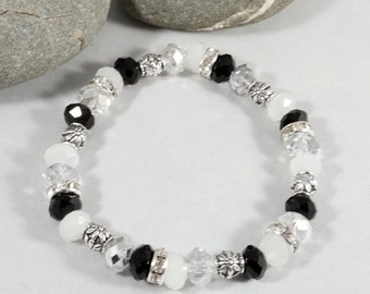 Faceted Glass Beaded Stretch Bracelet in Black, White and Clear