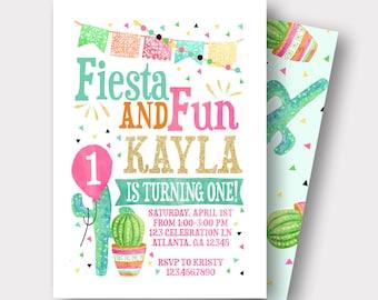Fun invitation etsy fiesta birthday invitation spanish birthday invitation taco birthday invitation fiesta and fun first birthday cactus invitation stopboris Image collections