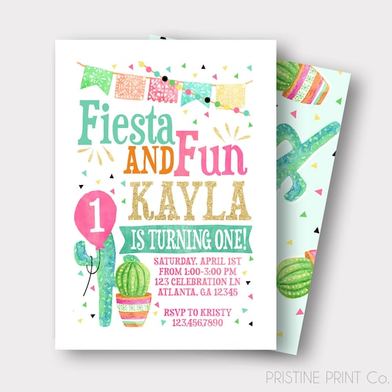 Fiesta Birthday Invitation Spanish Birthday Invitation
