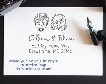 Choose draw portrait for return address stamp, return stamp,  chibi, avatars, , personalized wedding stamp-25