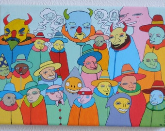 Crowded scene of Traders  - Original acrylic painting on stretched canvas