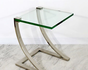 Mid Century Modern Chrome & Glass Cantilever Side End Table DIA Style